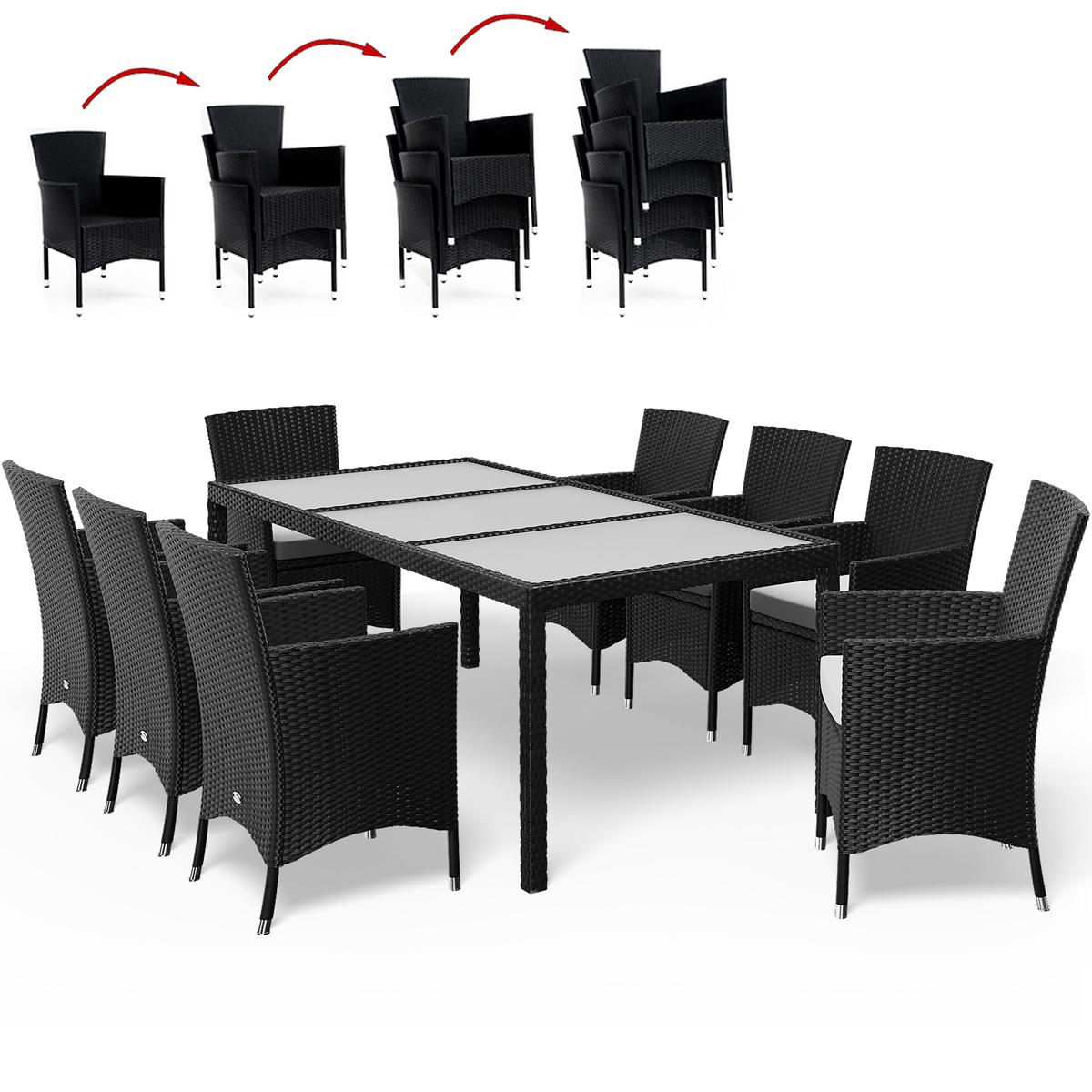 Détails Sur Salon De Jardin Polyrotin Noir 8 Chaises Empilables Table  Plateau En Verre serapportantà Table De Jardin Aluminium Et Verre