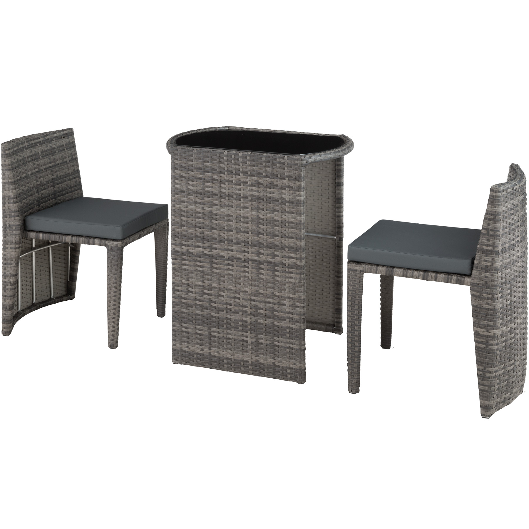 Détails Sur Salon De Jardin Résine Tressée 2 Personnes Mobilier Encastrable  Chaises Table tout Salon De Jardin En Resine Encastrable