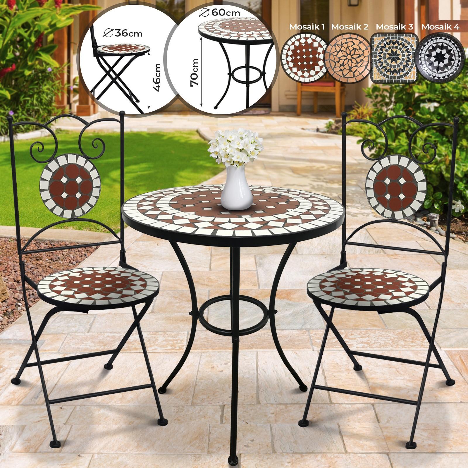 Détails Sur Set De Table De Jardin Et 2 Chaises Mosaïque Mobilier  Rond/carré Modèle Au Choix encequiconcerne Table De Jardin En Mosaique
