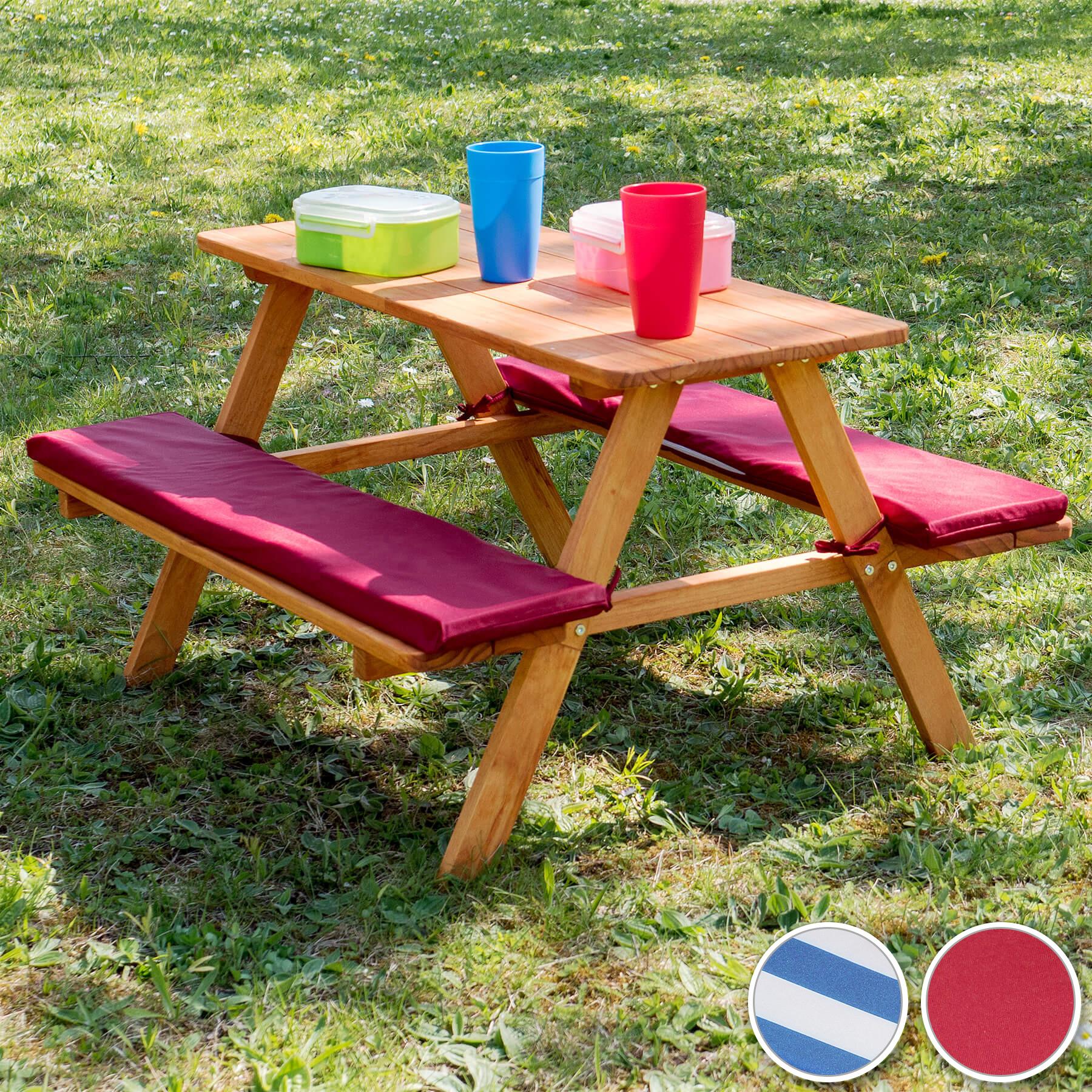 Détails Sur Table Bancs De Pique-Nique Meubles Enfants Bois Jardin Avec  Coussins Rouge avec Table Jardin Bois Enfant