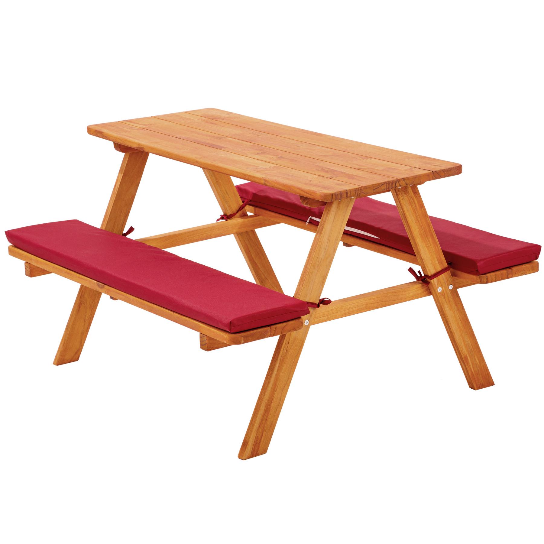 Détails Sur Table Bancs De Pique-Nique Meubles Enfants Bois Jardin Avec  Coussins Rouge pour Table Jardin Bois Enfant
