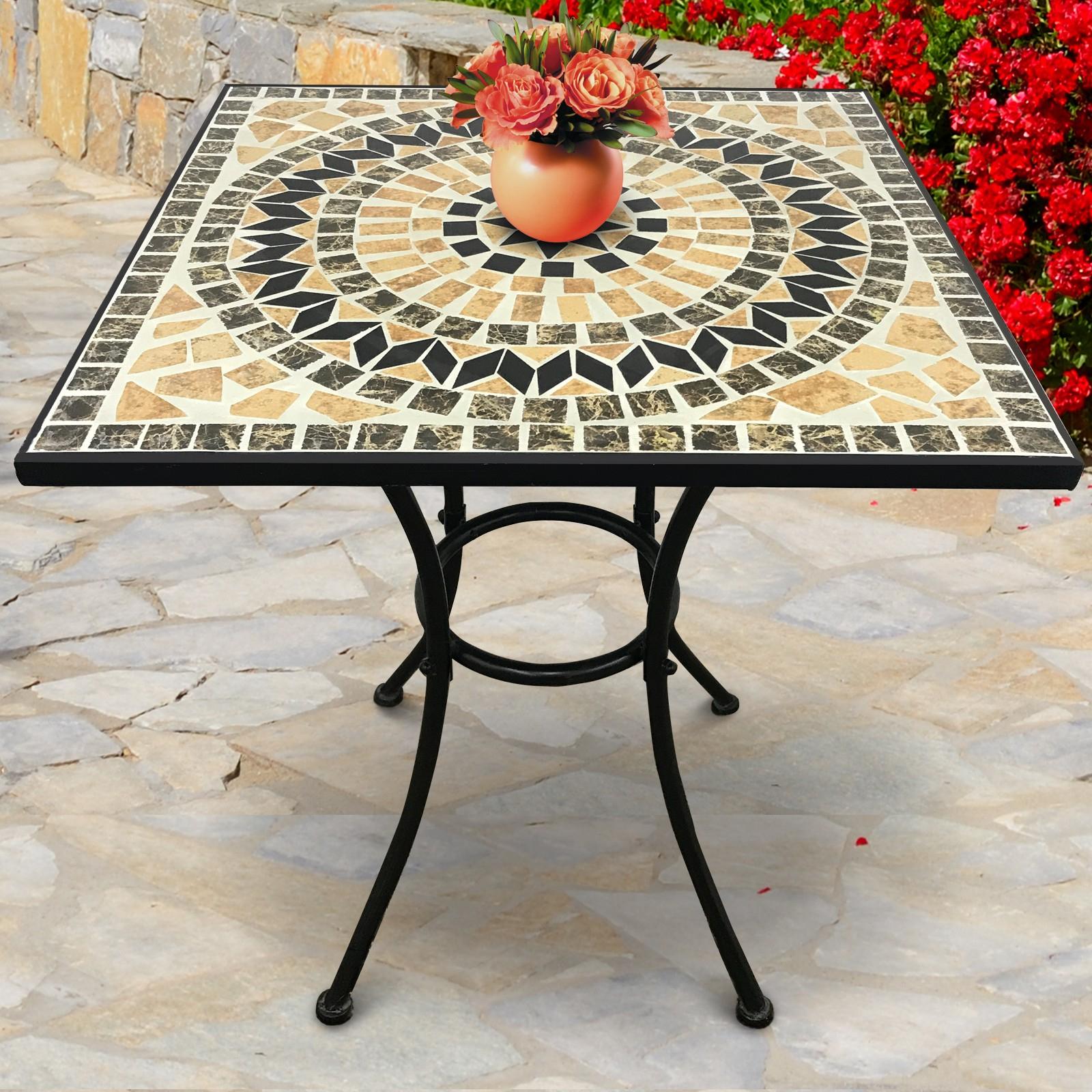 Détails Sur Table De Balcon Mosaïque Guéridon Bistrot Terrasse Jardin  Céramique Metal concernant Table Jardin Ceramique