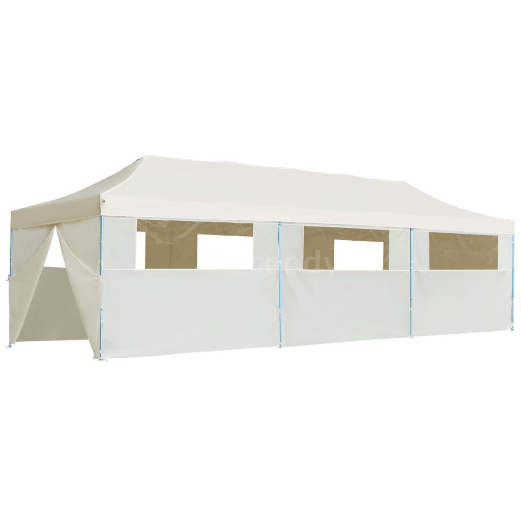Détails Sur Tente De Réception Pliable Avec 8 Parois 3X9 M Blanc Cassé A6D7 dedans Tente De Jardin Pliante
