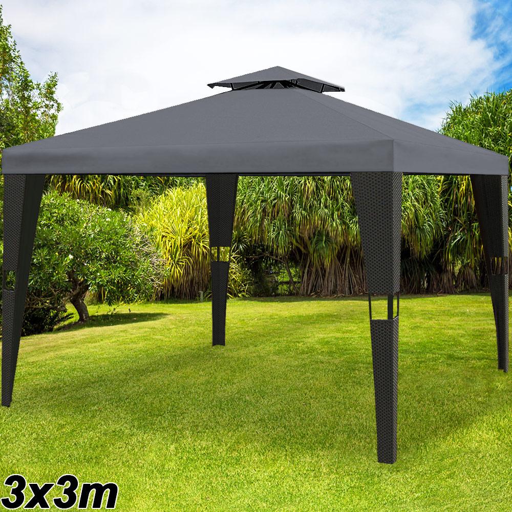 Détails Sur Tonnelle De Jardin En Polyrotin 3X3 M - Pavillon Tente De  Réception - Anthracite avec Tonnelle De Jardin 3X3
