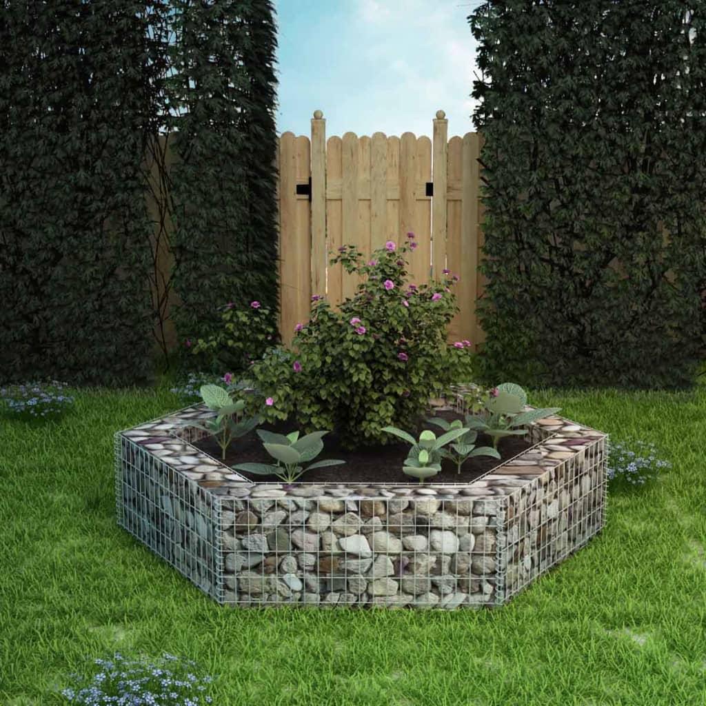 Détails Sur Vidaxl Jardinière À Gabion Hexagonale 200X173X40 Cm Décoration  De Jardin destiné Gabion Deco Jardin