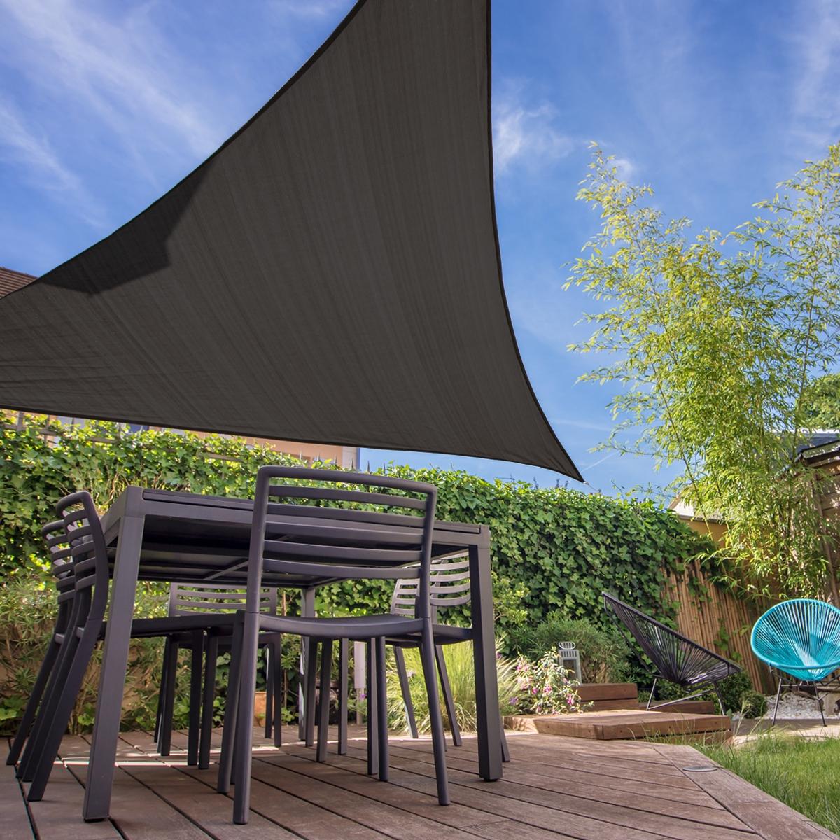 Détails Sur Voile D'ombrage Protection Solaire Uv Toile Auvent Triangle  5X5X5 M Anthracite tout Toile Jardin Triangle