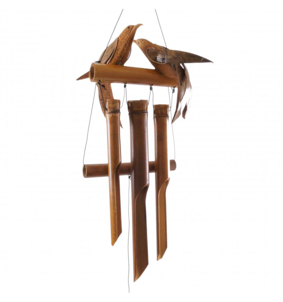 Detalles De Carillon À Vent En Bambou Et Noix De Coco - Couple D'oiseaux tout Carillon Bambou Jardin