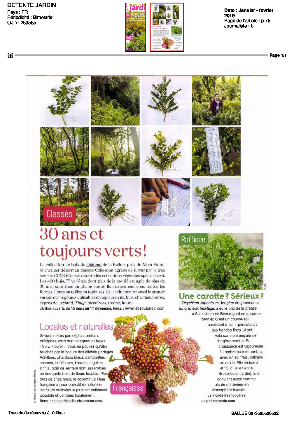 Détente Jardin Magazine-Janv-Fev-2019 - Les Jardins De La ... avec Détente Jardin Magazine