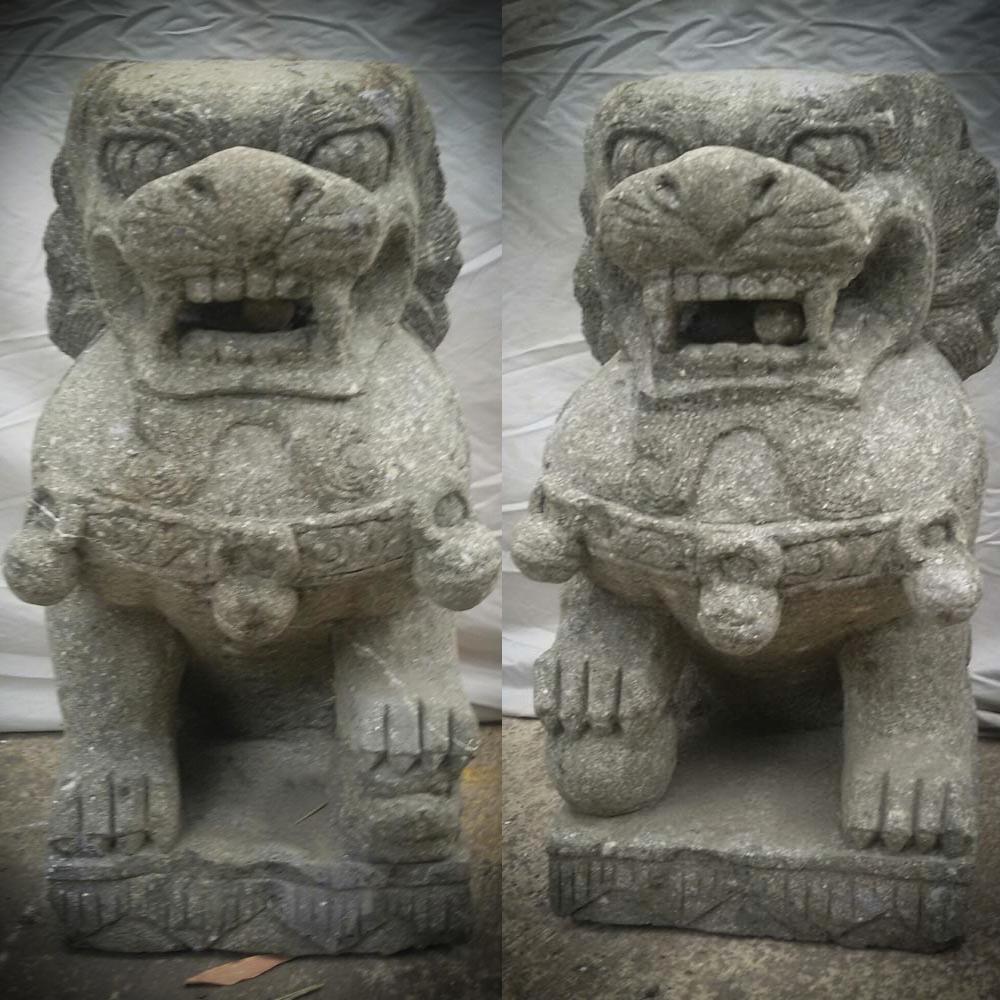 Deux Statues Jardin Chien Fu Foo Lion Pierre Volcanique 60 Cm concernant Lion En Pierre Pour Jardin