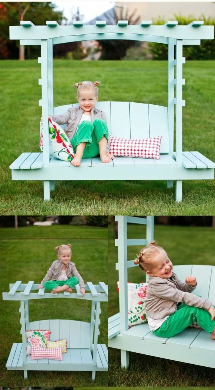 Diy Banc Pour Enfant Bois Idée Pergola Brico Enfant Jardin ... concernant Bache Pour Table De Jardin