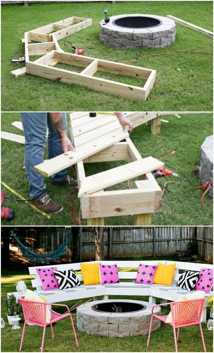 Diy: Circle Bench Around Your Fire Pit   Bancs De Jardin En ... tout Divan De Jardin