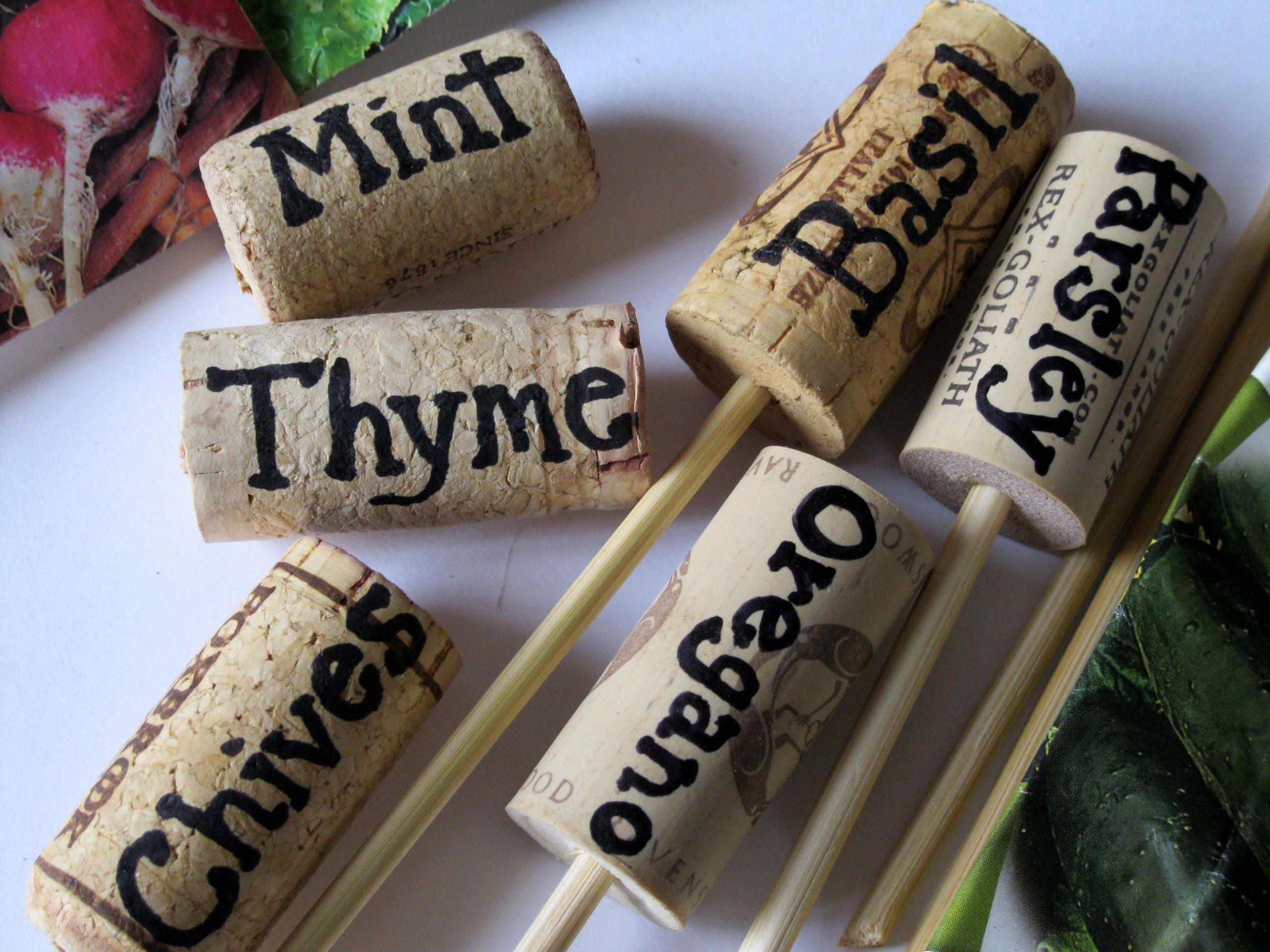 Diy Garden Markers Made From Wine Corks | Marqueurs De ... intérieur Etiquette Jardin