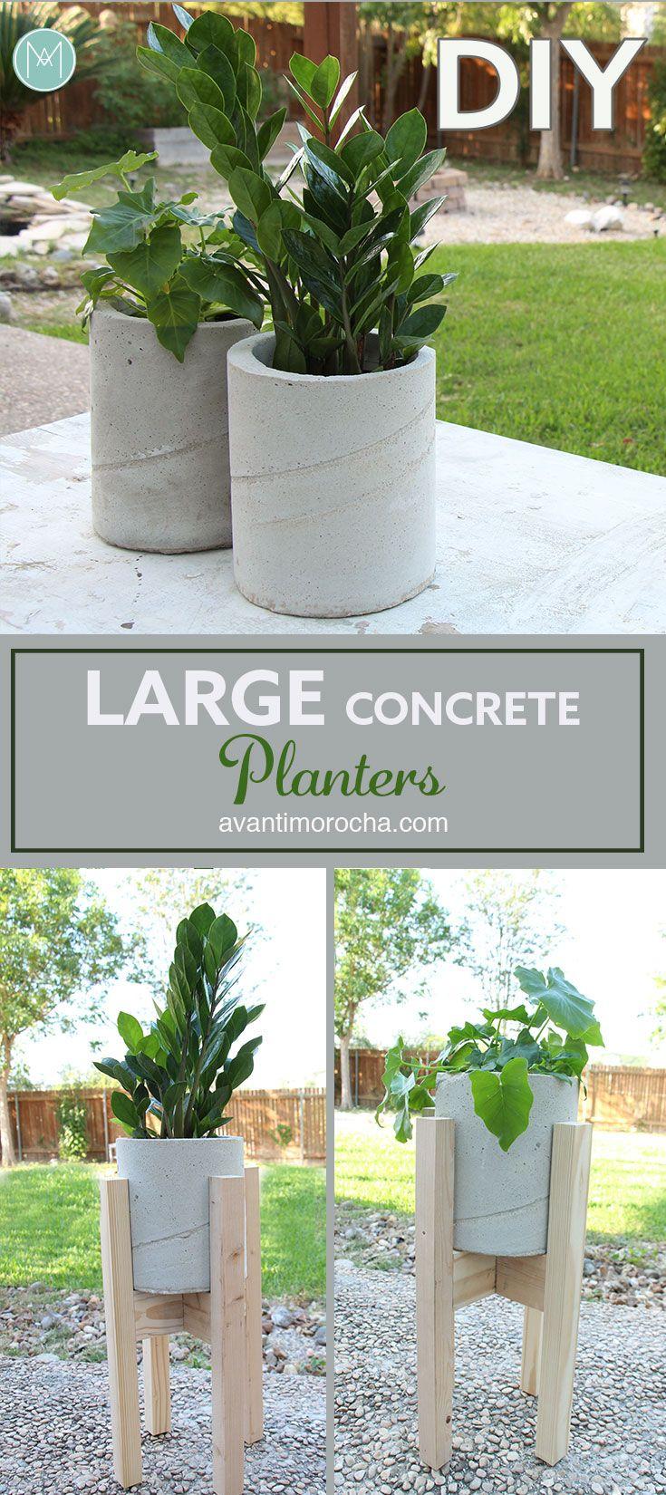 Diy Large Concrete Planters | Pots En Béton Diy, Decoration ... serapportantà Jardinieres Beton Pour Jardin