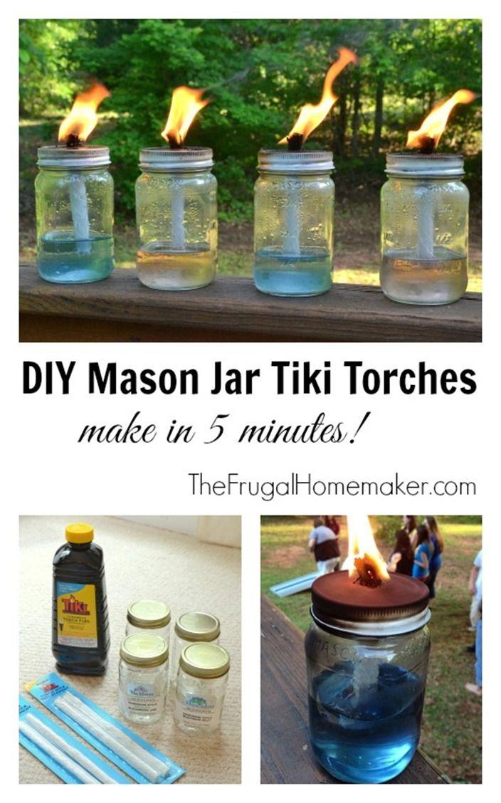 Diy Mason Jar Tiki Torches | Antorchas Tiki, Como Hacer ... serapportantà Torches De Jardin