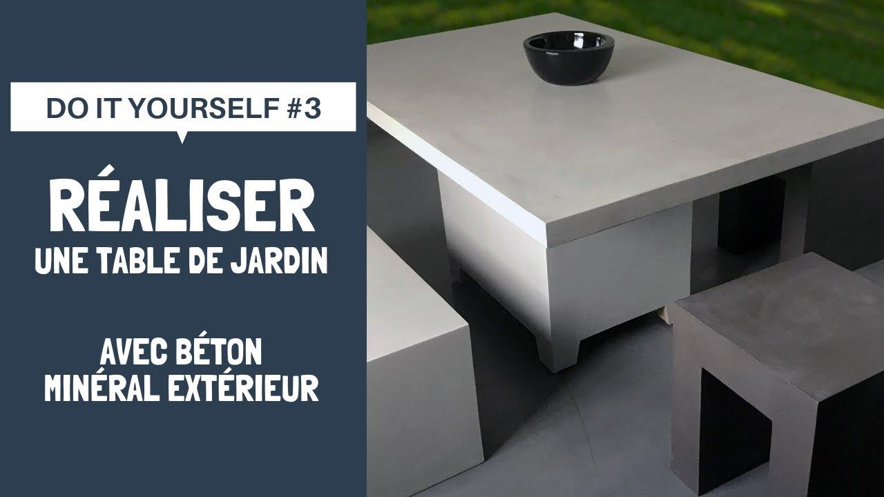 Do It Yourself #3 | Réalisez Une Table De Jardin Avec Béton Minéral  Extérieur serapportantà Table De Jardin En Ciment