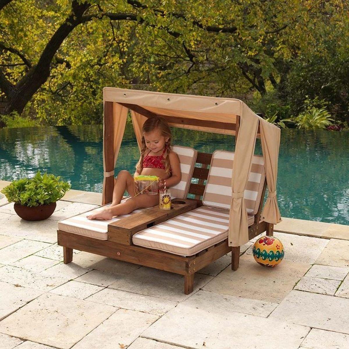 Double Chaise Longue Enfant Avec Porte-Gobelets - Taille ... avec Salon De Jardin Enfants