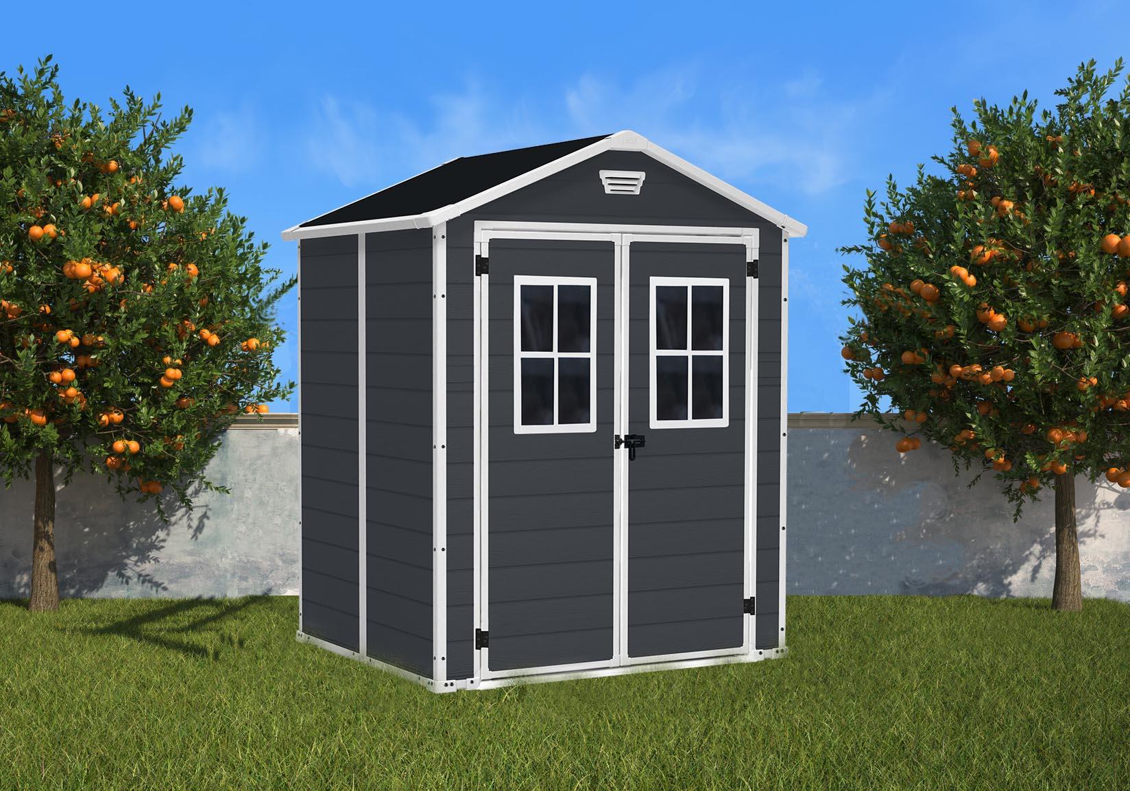 Duramax:la Maison Du Jardin L'abri En Résine Gris Anthracite ... concernant Abris De Jardin En Résine