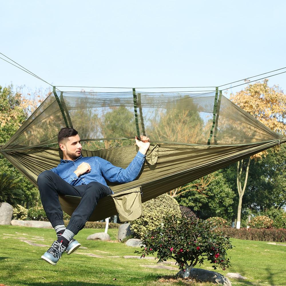 €12.0 |Ultra Léger Camping En Plein Air Chasse Moustiquaire Parachute Hamac  2 Personnes Flyknit Hamaca Jardin Hamak Lit Suspendu Loisirs Hamac-In ... serapportantà Lit Suspendu Jardin