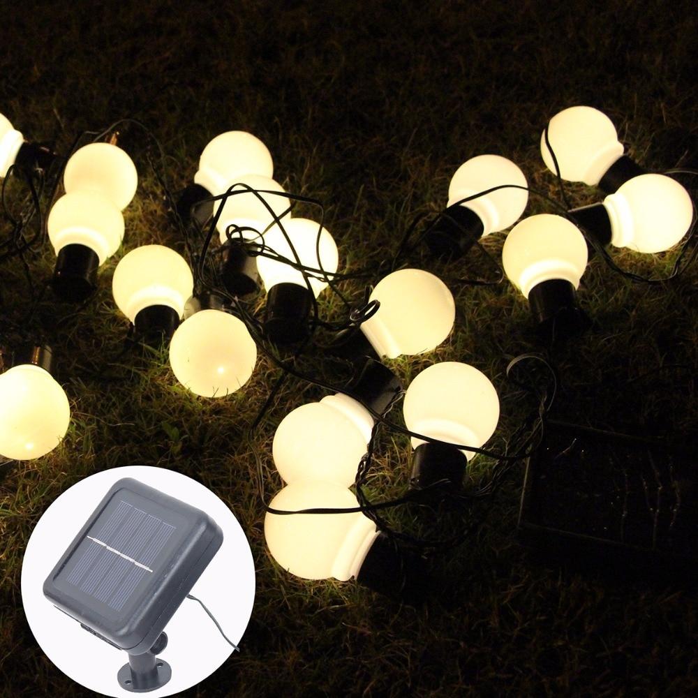 €16.81 30% De Réduction|20 Led Lampes Solaires Extérieures Led Globe Boule  Chaîne Fée Lumière Solaire Guirlande De Noël Étanche Jardin Rue Décor ... pour Boule Lumineuse Jardin