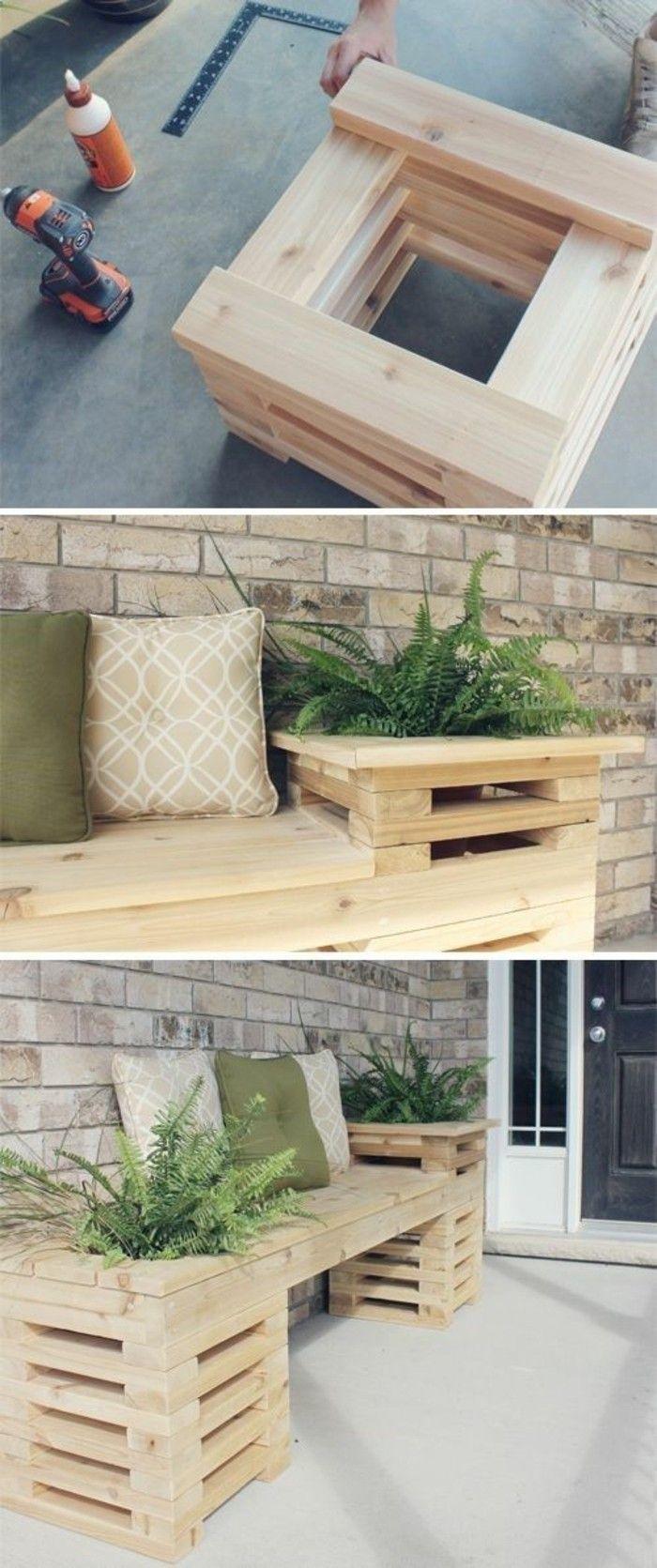 ▷1001+ Idées Pour Fabriquer Un Banc En Palette Charmant ... avec Table De Jardin En Bois Avec Banc Integre