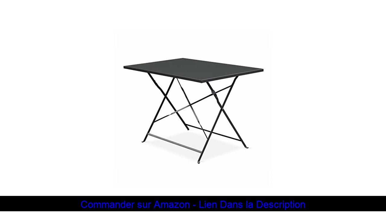 ☄️ Salon De Jardin Bistrot Pliable - Emilia Rectangulaire Gris Anthracite -  Table 110X70Cm Avec Qua intérieur Salon De Jardin Alice Garden
