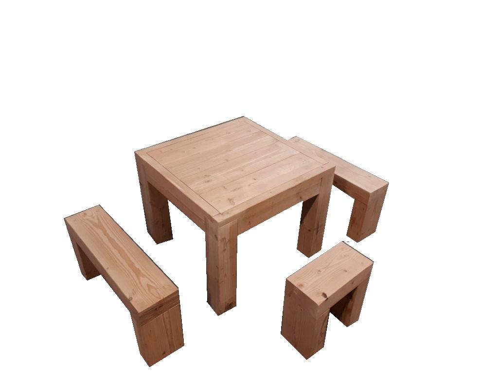 ☺Kit Salon De Jardin En Bois Douglas Naturel : Table Haute + Banc.  Livraison Gratuite Fr - Sud Bois : Terrasse, Bois Direct Scierie concernant Salon De Jardin Table Haute