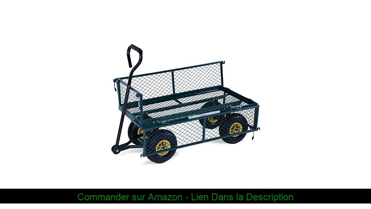 ⚡️ Chariot De Transport - Avec Roues Pneumatiques, Charge Max. 350 Kg,  113.5 X 52 X 88 Cm, Vert Ou intérieur Charrette De Jardin