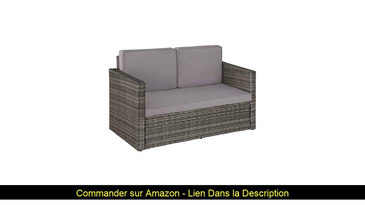 ⚡️ Tectake 800693 Salon De Jardin Modulable 2 Personnes En Résine Tressée,  1 Canapé Et 1 Tabouret, concernant Amazone Salon De Jardin