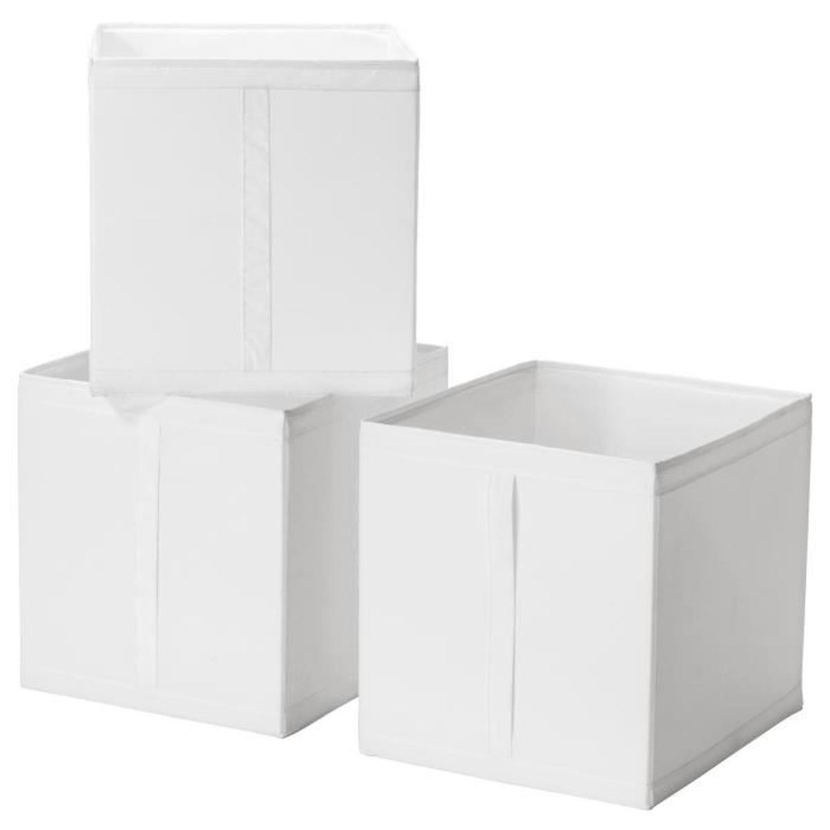 Ensemble 3 Boîtes De Rangement Avec Poigne 31X34X33 Cm Skubb ... serapportantà Coffre De Jardin Ikea