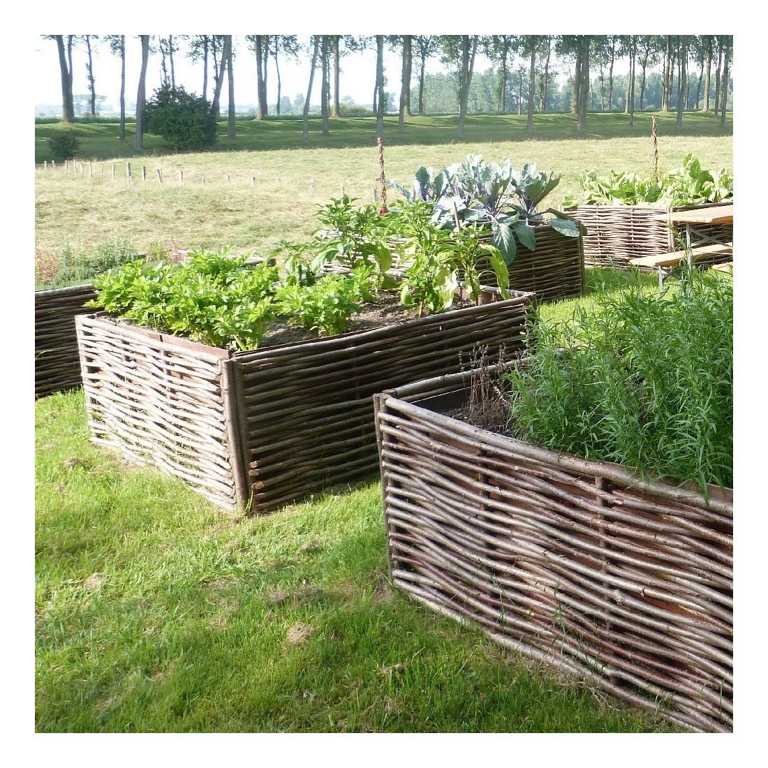 Ensemble Bac Potager 120 Cm Et Bordures Tressées pour Bordure De Jardin En Osier Tressé