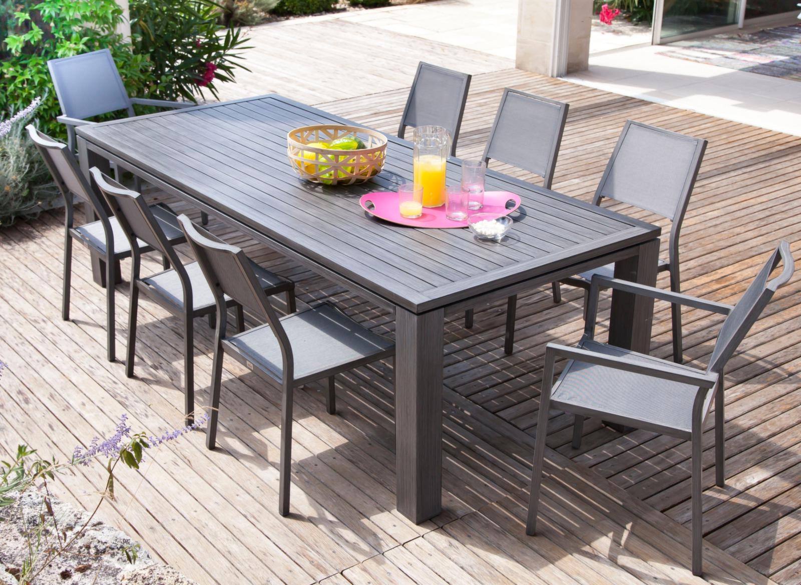 Ensemble Chaise Et Table De Jardin Sol Salon Aluminium ... pour Table De Jardin Auchan