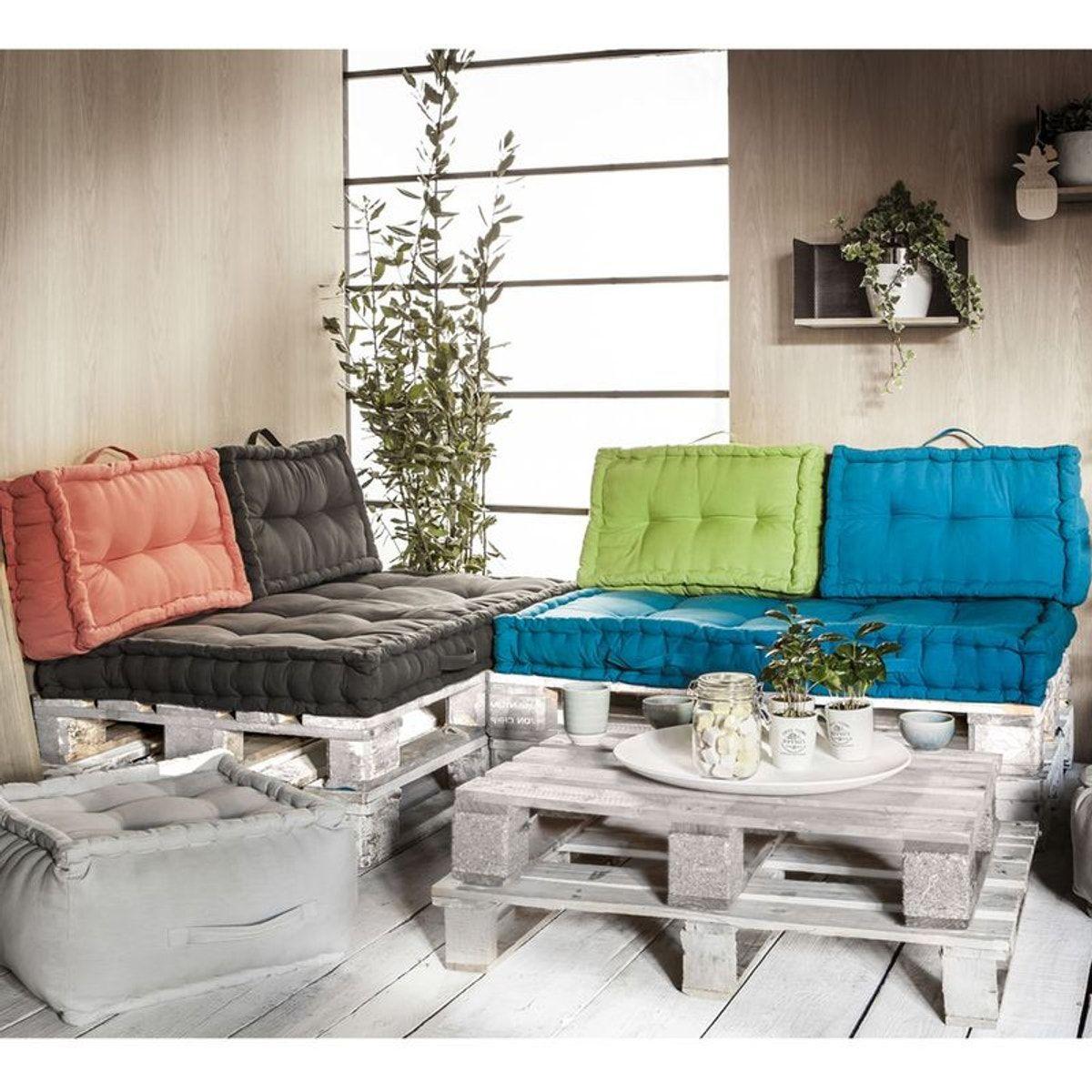 Ensemble Coussins Palettes En Coton Taupe - Taille : 120X90 ... avec Coussin Pour Salon De Jardin En Palette