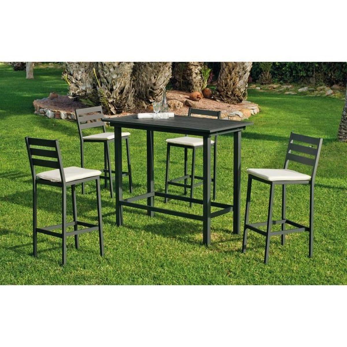 Ensemble De Jardin Galicia 1 Table Bar + 4 Chaises Hautes Anthracite pour Cdiscount Table De Jardin