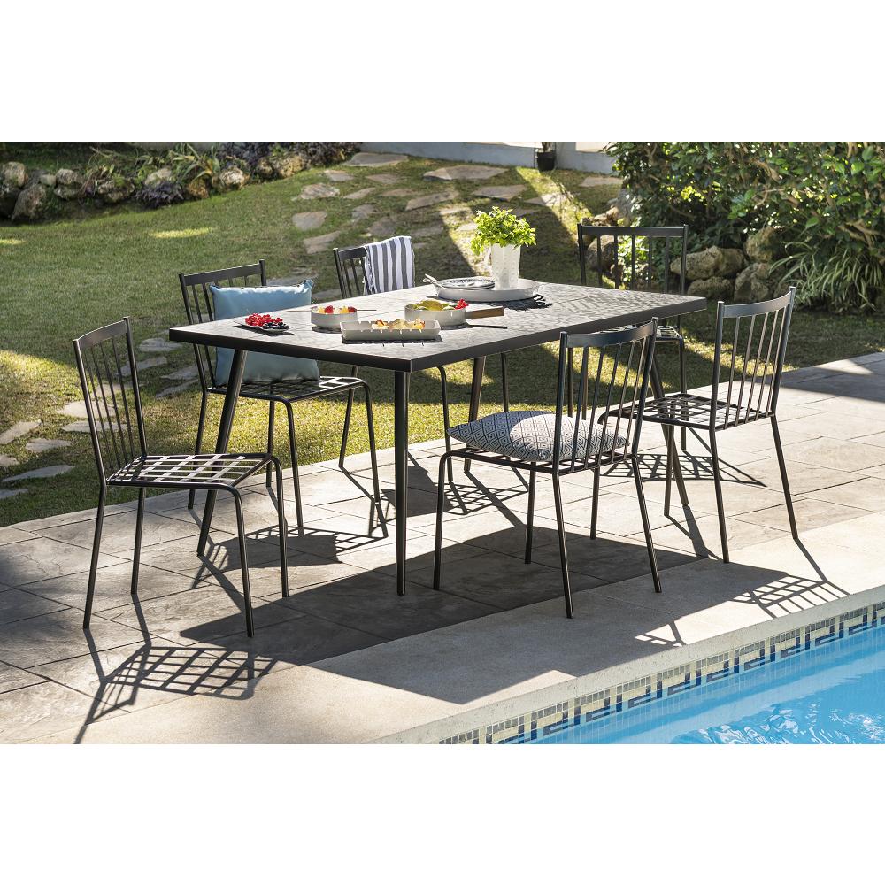 Ensemble De Jardin Mosaïque Table + 6 Chaises Metal pour Table De Jardin En Mosaique