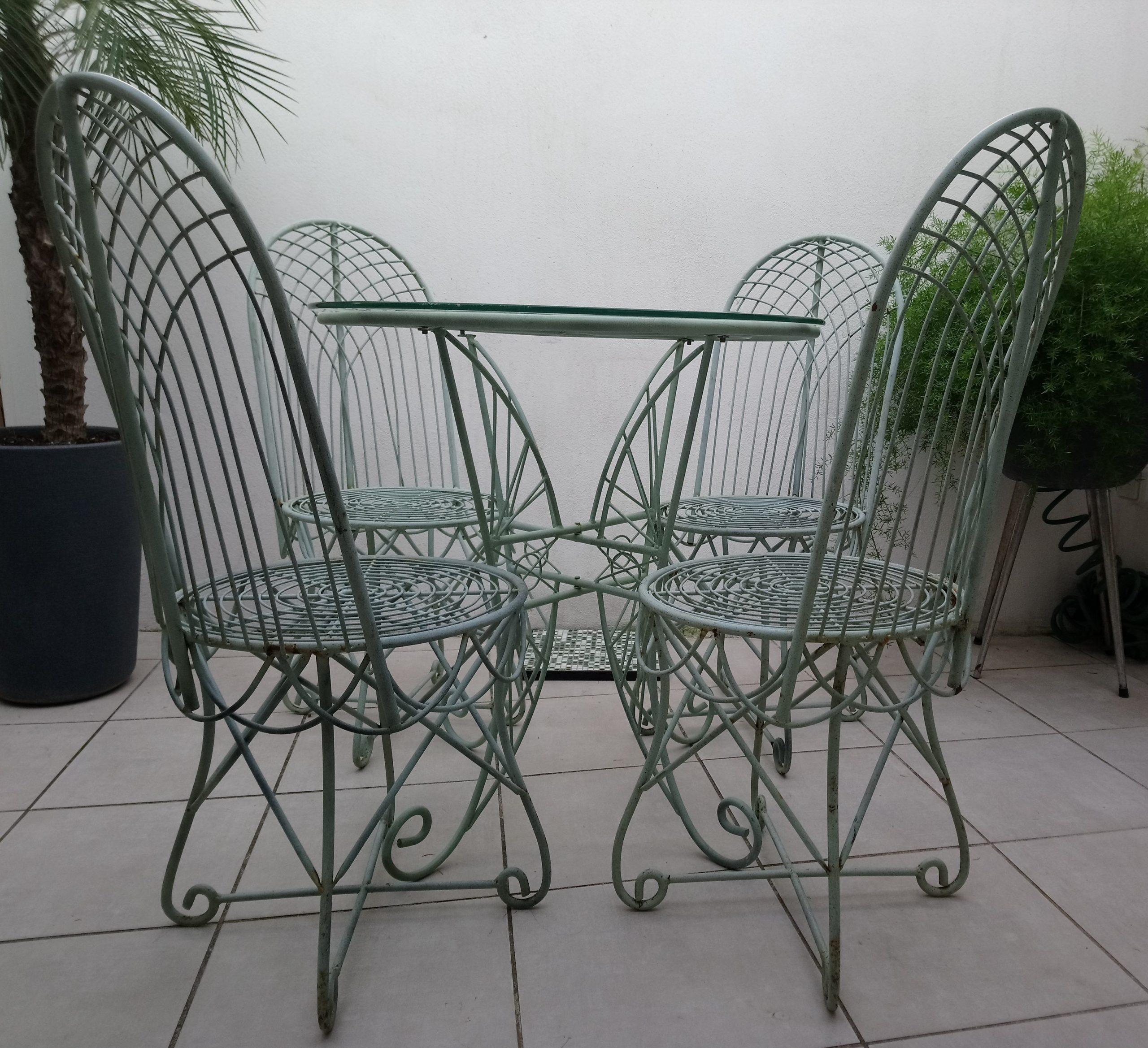 Ensemble De Jardin Style Vintage Table+4 Chaises Fer Forgé dedans Chaise En Fer Forgé De Jardin
