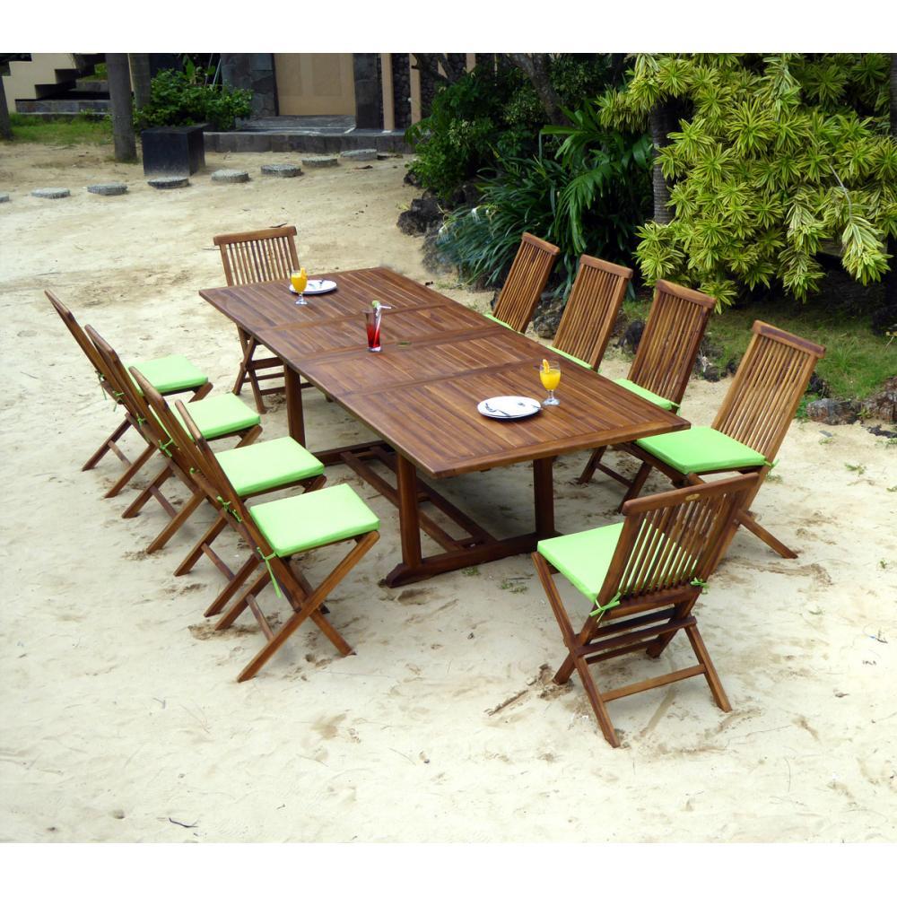 Ensemble En Teck Massif De Jardin Table 200-250-300 Cm Et 10 ... intérieur Salon De Jardin Teck Massif