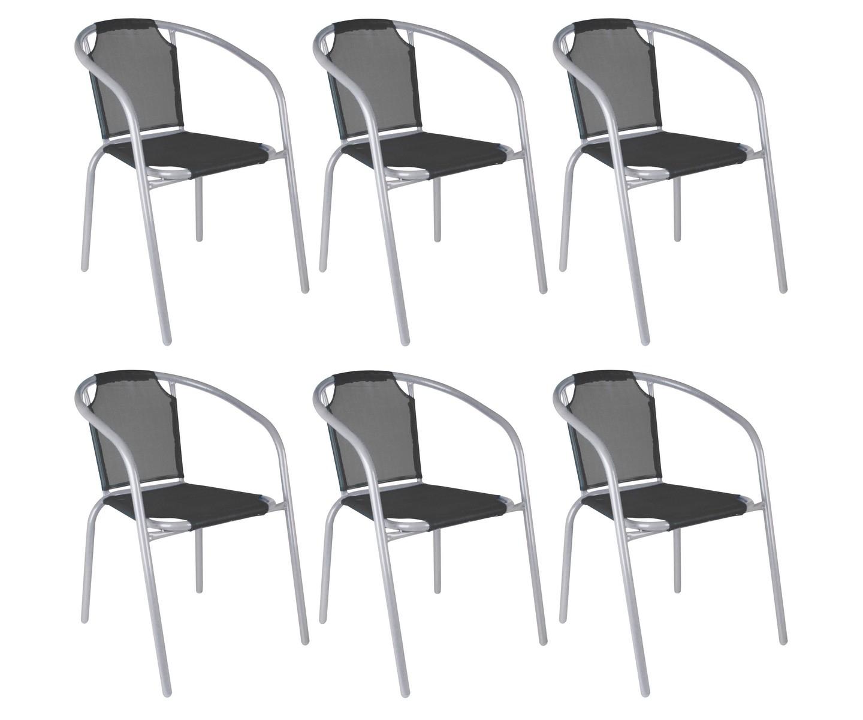 Ensemble Lot 6 Fauteuils Chaise Bistrot Jardin Empilable ... intérieur Chaise De Jardin En Resine Pas Cher