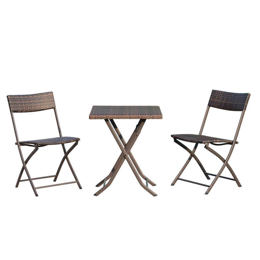 Ensemble Meubles De Jardin Design Table Carré Et Chaises Pliables Résine  Tressée Imitation Rotin Marron dedans Chaise Bistrot Aluminium Jardin