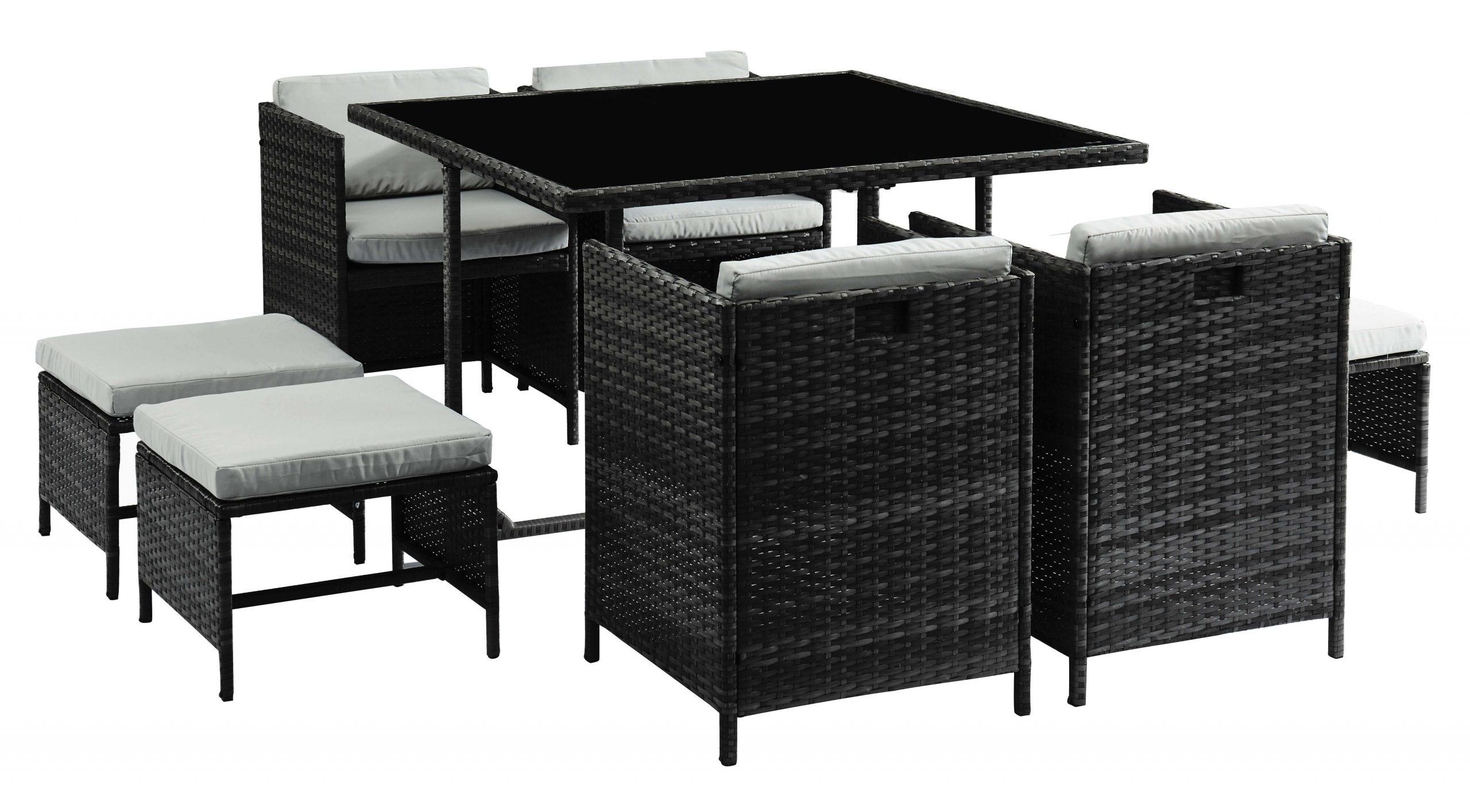 Ensemble Repas Carioca En Résine Tressée Noire : 1 Table, 4 Chaises Et 4  Assises Dappoint. à Table Et Chaise De Jardin En Resine Tressee