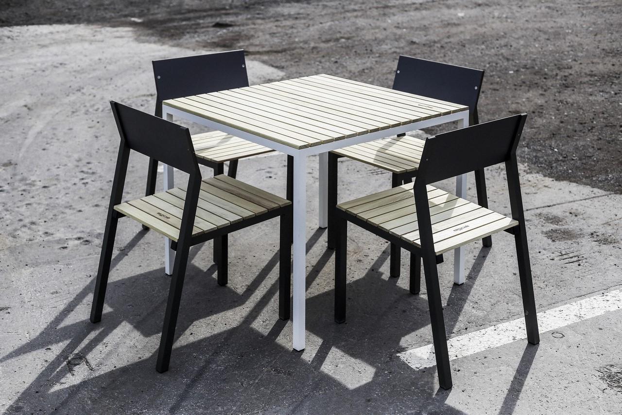 Ensemble Repas Cora, Table Carrée Et 4 Chaises, Métal ... à Table De Jardin Cora
