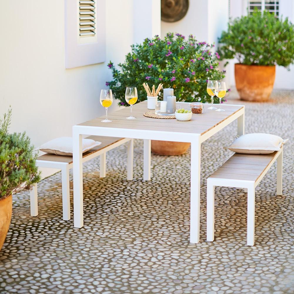 Ensemble Repas Madrid Revêtement Eucalyptus 4 Personnes intérieur Mobilier De Jardin Gifi