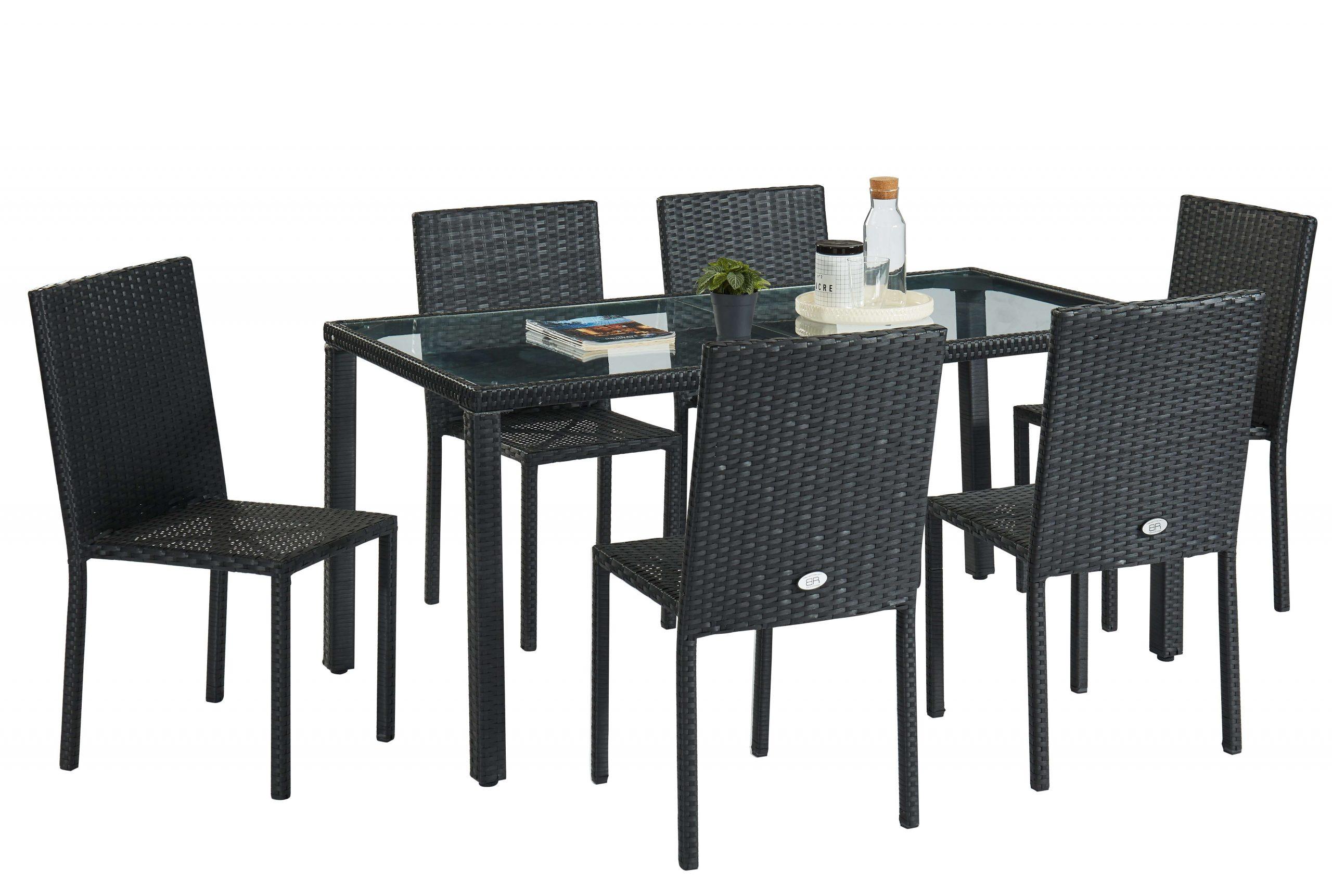 Ensemble Repas Pour Jardin En Résine Tressée Noire Pour 6 Personnes : 1  Table, 6 Chaises. à Table Jardin 6 Personnes