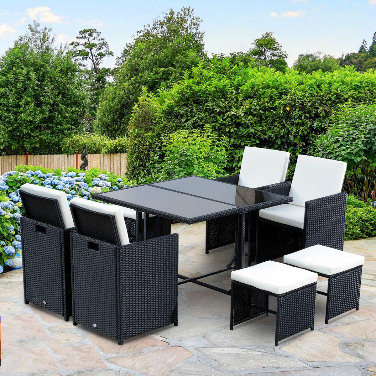 Ensemble Salon De Jardin Encastrable 8 Places Noir Blanc ... pour Table De Jardin En Solde