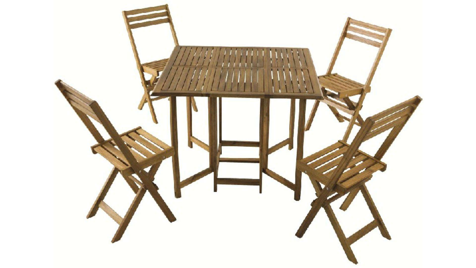 Ensemble Table + 4 Chaises De Jardin En Acacia Massif Toledo ... tout Table De Jardin Conforama