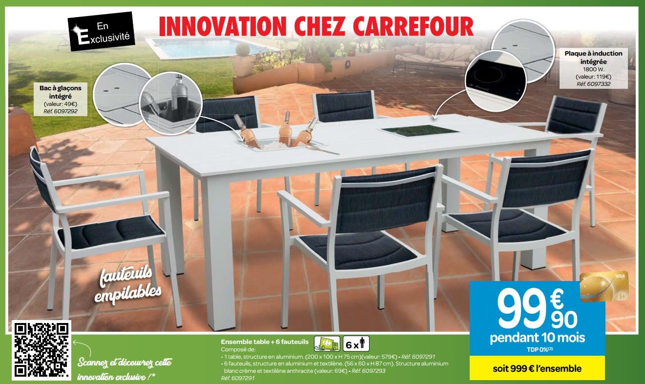 Ensemble Table + 6 Fauteuils encequiconcerne Fauteuil De Jardin Carrefour