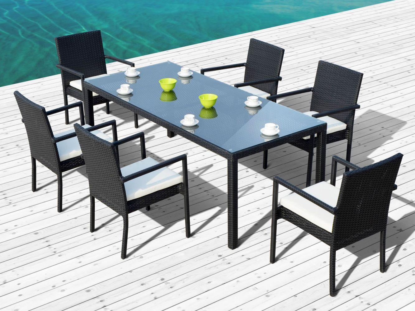 Ensemble Table Avec Chaises De Jardin En Résine Noire Atlas ... concernant Table Et Chaise De Jardin Design