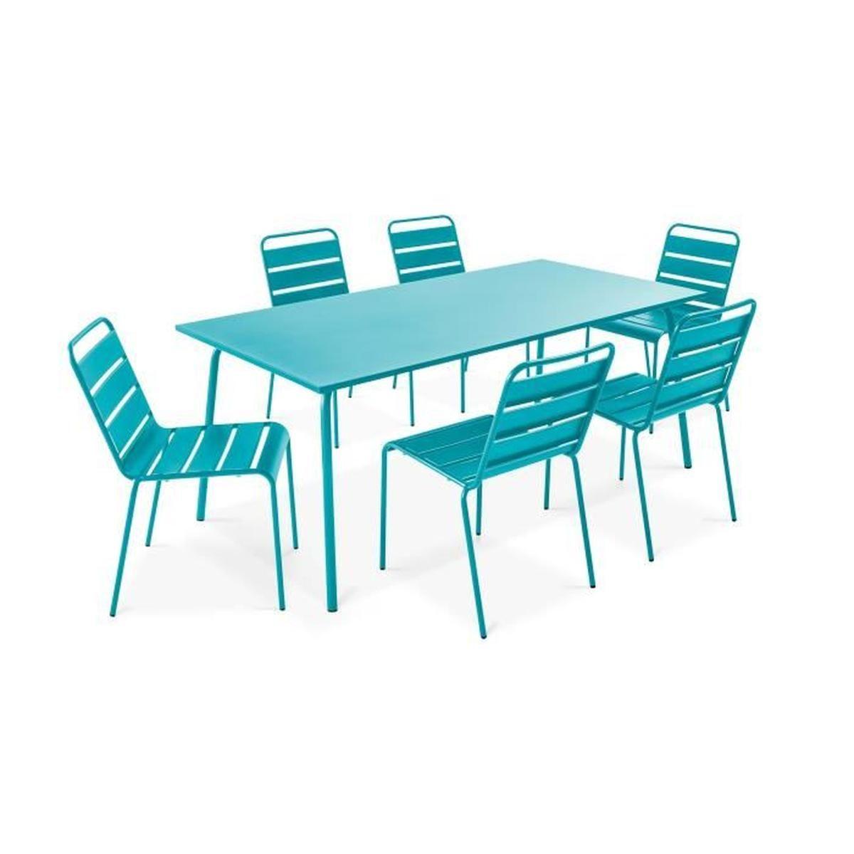 Ensemble Table De Jardin Et 6 Chaises En Métal - Salon De ... intérieur Cdiscount Table De Jardin