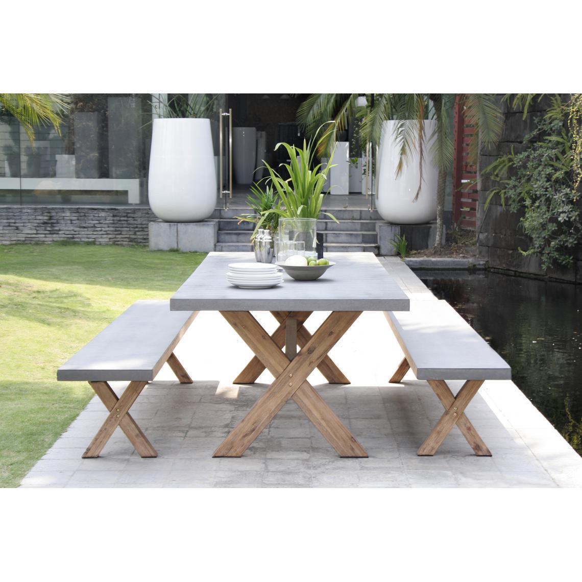 Ensemble Table De Jardin Table Rectangulaire En Fibre De Ciment Et Acacia +  2 Bancs pour Table De Jardin En Ciment