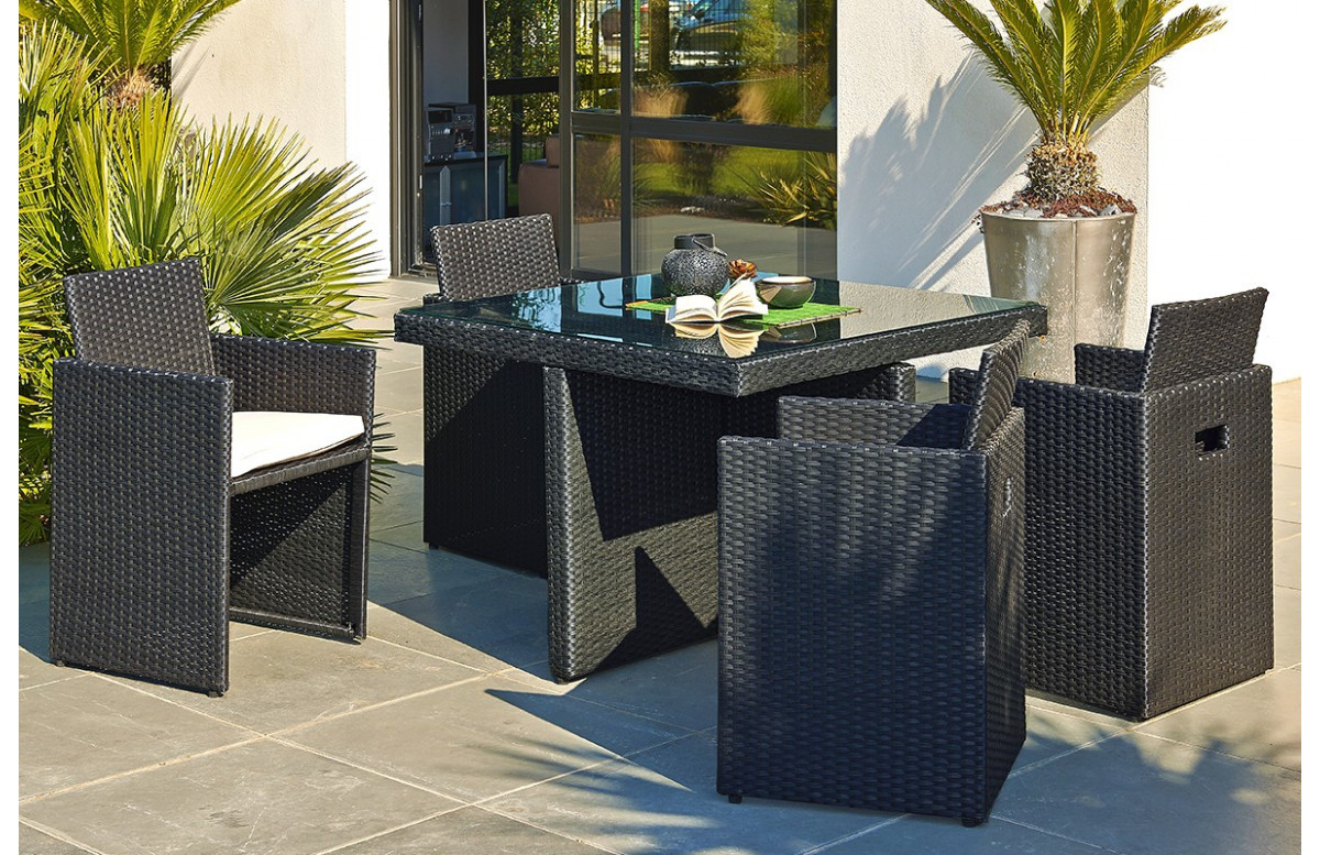 Ensemble Table Et 4 Fauteuils Encastrables tout Table De Jardin En Resine Tressée