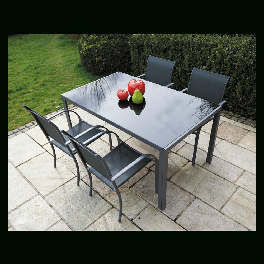 Ensemble Table Et Chaises Metal Et Verre intérieur Table De Jardin Aluminium Et Verre